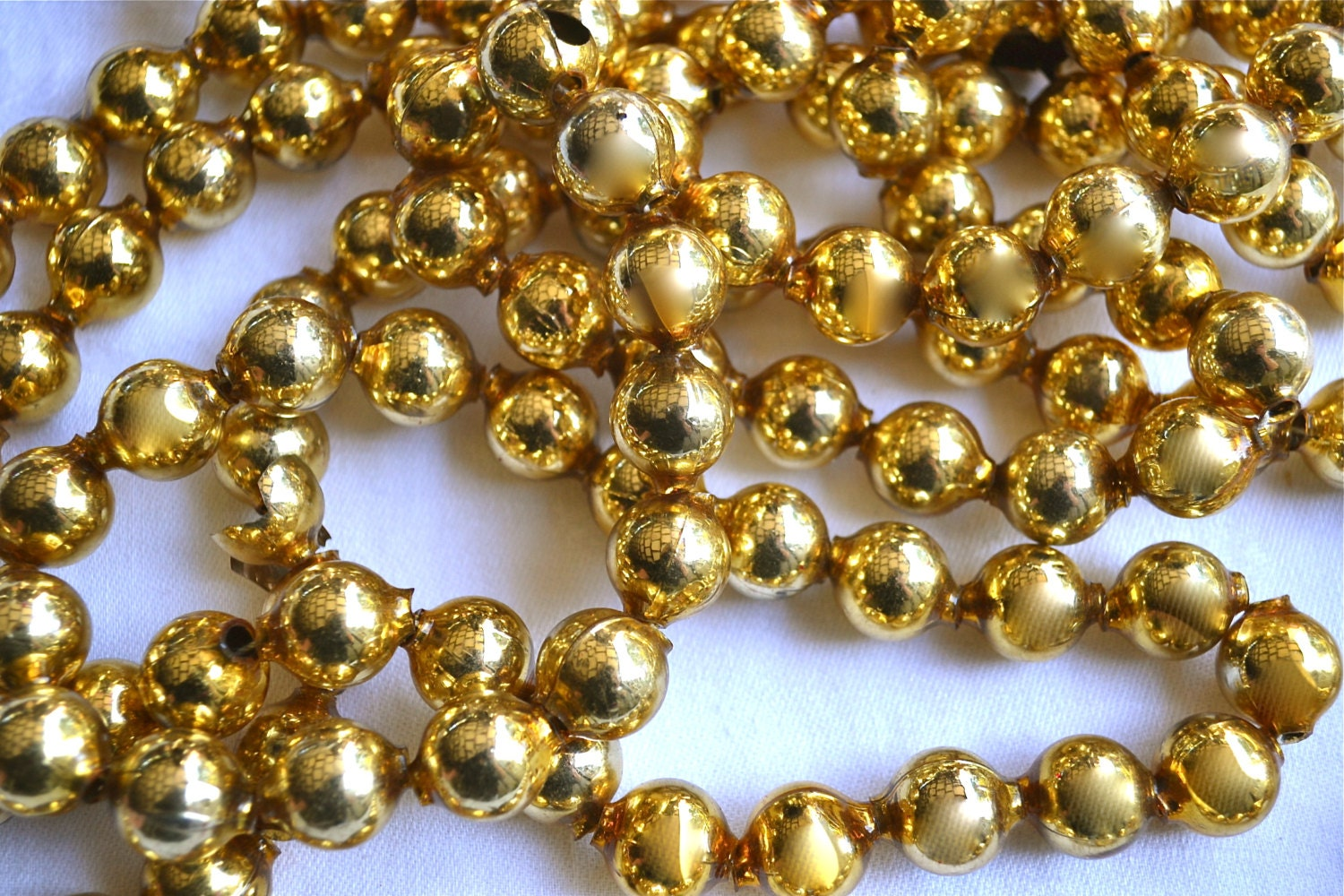 Vintage mercury glass beads garland large gold by pumpkintruck