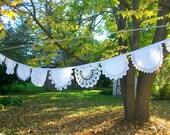 Wedding garland Bridal banner Vintage doilies  Rustic Wedding decor