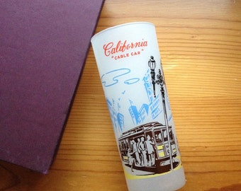 california san francisco cable car frosted cup tumbler vintage