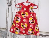 Minnie Mouse A Line Dress Sz. 0 3 6 12 18 24 Months 2T 3T 4T Custom Handmade Disney Mickey Baby Shower Gift Infant Vacation Birthday