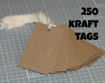 "250 Kraft Tags ... Chipboard Tags 1.5"" x 2.5"" Recycled Cardstock Rustic Hang Tags Price Tags Product Labels Seller Supplies Bulk Discount"