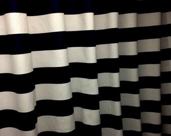 "Two designer curtain panels, drapes, rod pocket horizontal 3"" stripe, black and white cotton"