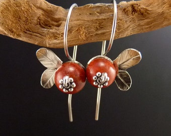 Cranberry Sterling Silver Earrings Handmade Metalwork