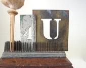 2 vintage stencils, 2 brass stencils. letter U, number 4, for you, 4 U. old stencils, metal stencils, sign makers stencils, art stencils