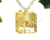 Kabbalah gold necklace with Citrine, Jewish jewelry, dainty Gold necklace, gold jewelry, delicate Gold necklace, tiny Gold square necklace