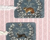 Tags, Vintage Rabbit Tags, Lapin Tags, French Rabbit