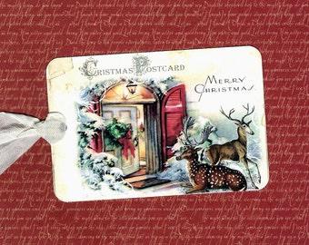 Christmas Tags Reindeer Visiting Gift Tags
