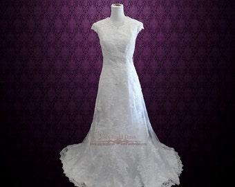 Modest Lace Overlay Wedding Dress | Modest Wedding Dress | Lace Wedding Dress | Vintage Wedding Dress | Satin Wedding Dress