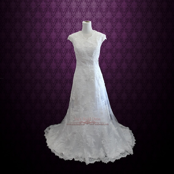 Modest lace overlay wedding dress modest wedding dress for Lace wedding dress overlay