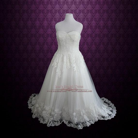 Plus size strapless lace princess a line wedding dress lace for Disney line wedding dresses