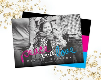 Peace and Love Photo Holiday Card