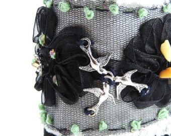 Bracelet, Lace and Suede, Lace Flowers, Beads and  Birds, Cuff Style Bracelet, Shabby Victorian Style