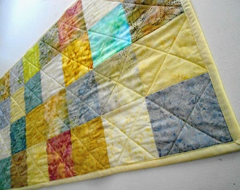 Quilt Table Runner Spa Inspired Batik Fabrics  Handmade by SEW FUN QUILTS