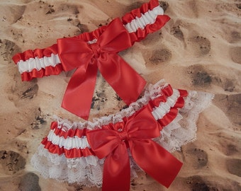 Red Satin White Satin White Lace Wedding Bridal Garter Toss Set