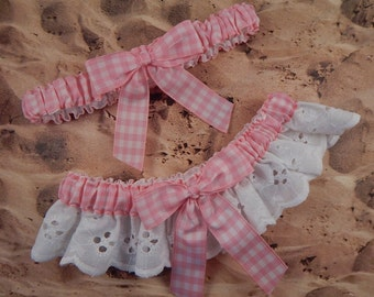 Pink Gingham White Eyelet Lace Wedding Garter Toss Set