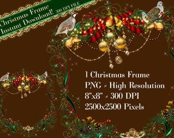 Holiday Clipart, Christmas Frame Clip Art, Holiday Graphics, 12 Days of Christmas