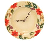 Coral Floral Wall Clock -  Kitchen Clock - Unique Wall Clock - Wall Decor - Kitchen Decor - Plate Clock - 1431