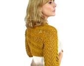Lace Wedding Shrug Bridal Bolero Jacket Cover Up Mustard Gold Lily Lace Golden Yellow Organic Cotton Hand Knit Autumn Wedding XS S M L