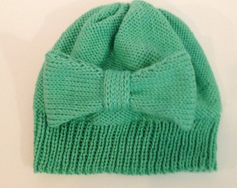 Handknit Child's Mint Green Hat with Bow