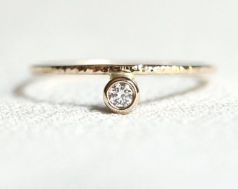Solid 14k Gold Off Set Cubic Zirconia Ring - Rose or White or Yellow Modern Stack Ring - Tiny Delicate Unique Engagement Ring