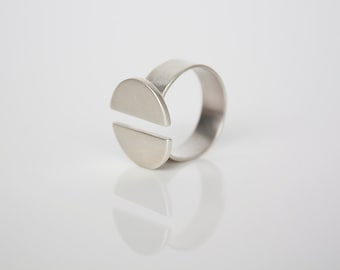 Double Crescent Ring- Open Front ring- Sterling silver Modern ring- Silver adjustable ring