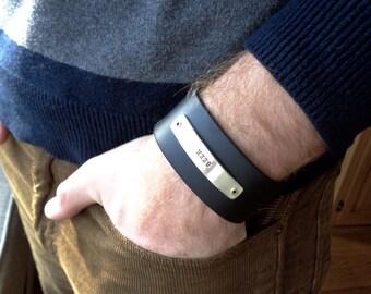Men's Leather Cuff Bracelet - Hand Stamped - Seek