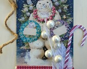 Holiday Snowman Tag, Holiday Art Tag, Handmade Christmas Tag, OOAK Tag