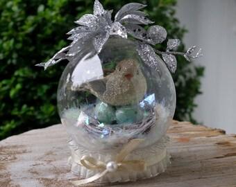 Snow Globe Bird Nest Christmas Decoration Winter Display