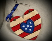 American Flag Patriotic hand painted wooden sign old glory
