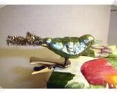 Mercury Glass Bird Clip-on Ornament w/ Metallic Chenille Tail/Blue Green Color/ Holiday Decor*