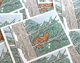 Pine Marten Cards - Winter Holiday Stationary Set