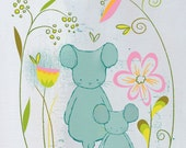 Little One ( 8x10 Children's Art Print ) Mother and Daughter Mouse and flowers