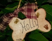 Christmas Ornament wooden dog bone ornament Holiday