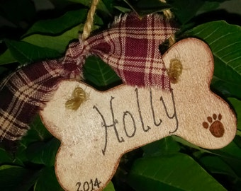 Christmas Ornament wooden dog bone ornament Holiday