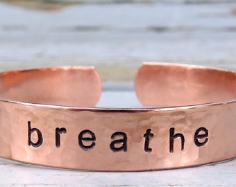 Breathe Bracelet, Yoga Jewelry, Breathe Bangle, Hand Stamped Bracelet, Copper, Personalized Jewelry, Select Symbol, Breathe