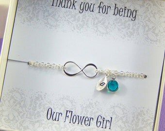 Flower Girl Bracelet,Flower Girl Gift, Thank you for being our Flower Girl, Personalized Birthstone And Hand Stamped Leaf Bracelet