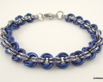 Blue and Silver Mobius Chainmail Bracelet, Aluminum Bracelet, Chainmaille Bracelet