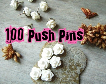 100 Decorative  Push Pins Thumbtacks Wedding Boards Rose Bud White Flower Tacks Thumb Tack Message Boards Office Cubicle Decor Cork Board