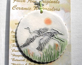 Watercolor Cranes Ornament, gift wrapped