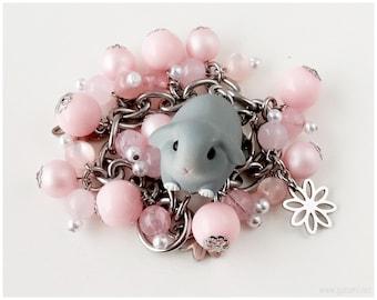 Kawaii Bunny Rabbit Bracelet, Pastel Pink, Stainless Steel - Sweet Lolita, Fairy Kei