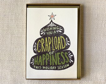 Sale 50% Off - Funny Holiday Card Set - Crapload of Happiness