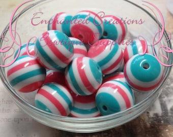 20mm Aqua, Hot Pink and White Striped Beads Qty 10