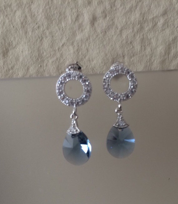 Clear to Infinity Earrings in Swarovski blue denim