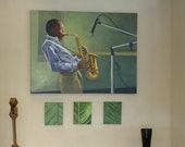 African American Sax Player, Figure Study, Portrait, Large Original Painting, Wall Art, home decor
