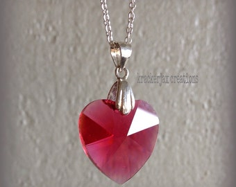 My Heart is Yours - Swarovski crystal ruby heart pendant, sterling silver