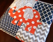 Modern Coral Gray Navy Baby Girl Quilt - Chevron Dots Baby Quilt  - Elephant -  Made To Order - Modern Chevron Dots Quartrefoil
