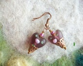 Heart Earrings, Frosted Purple Lamp Work Beads, Romantic,Valentine,Sweetheart Earrings/Jewelry