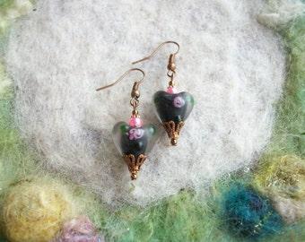 Black Heart Earrings,Shabby Vintage Style Earrings, Lamp Work Heart Beads, Love/Valentine/Gift