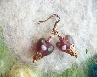 Heart Earrings, Frosted Purple Lamp Work Beads, Romantic,Valentine,Sweetheart Earrings/Jewelry