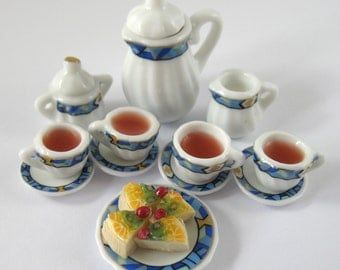Dollhouse Miniature Food Tea and Cheesecake Set in 12th Scale